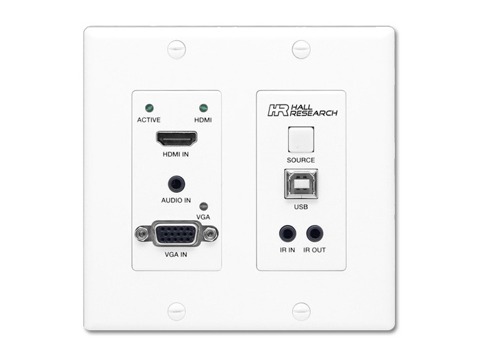 UHB-SW2-WP 4K/60 HDMI/VGA Auto-Switching/HDBT Wall Plate Extender (Transmitter) with USB/IR by Hall Research