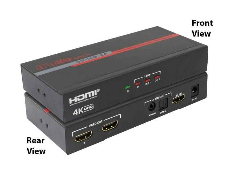 SP-HD-2A 2-Ch HDMI Splitter w Analog and Optical Audio Output by Hall Research