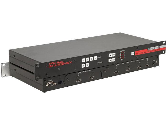 HSM-I-04-02 4x2 HDMI Matrix Switch with RS232 and IP Control by Hall Research