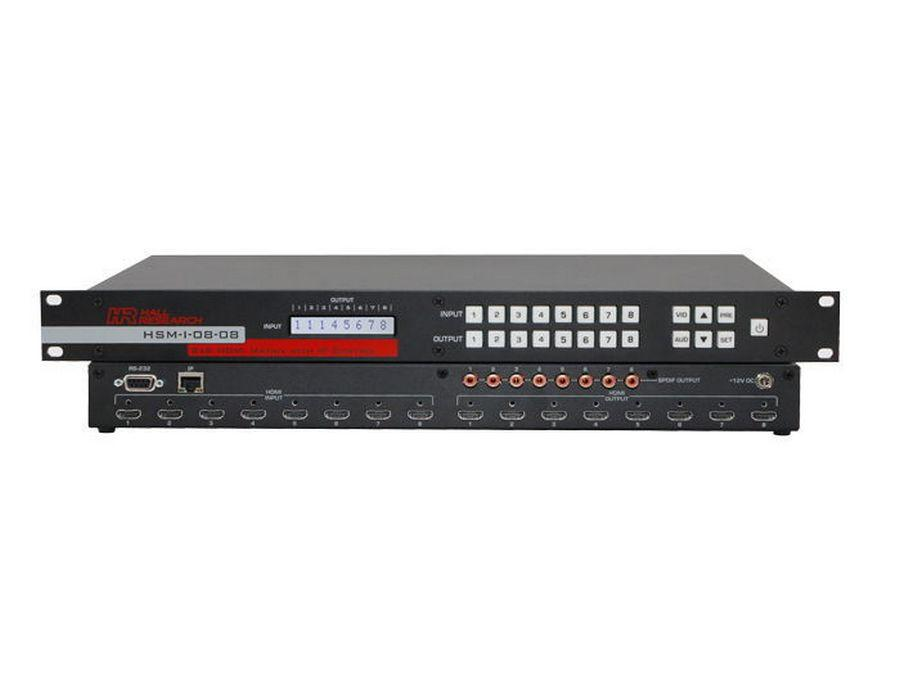 HSM-I-08-08 8x8 HDMI Matrix Switch with RS232 and IP Control by Hall Research