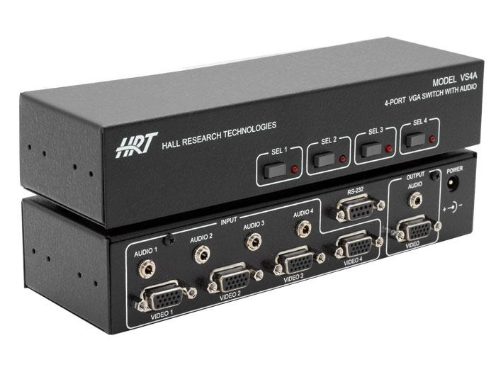 VS-4A 4-Port VGA Switch with Audio and Serial Control by Hall Research