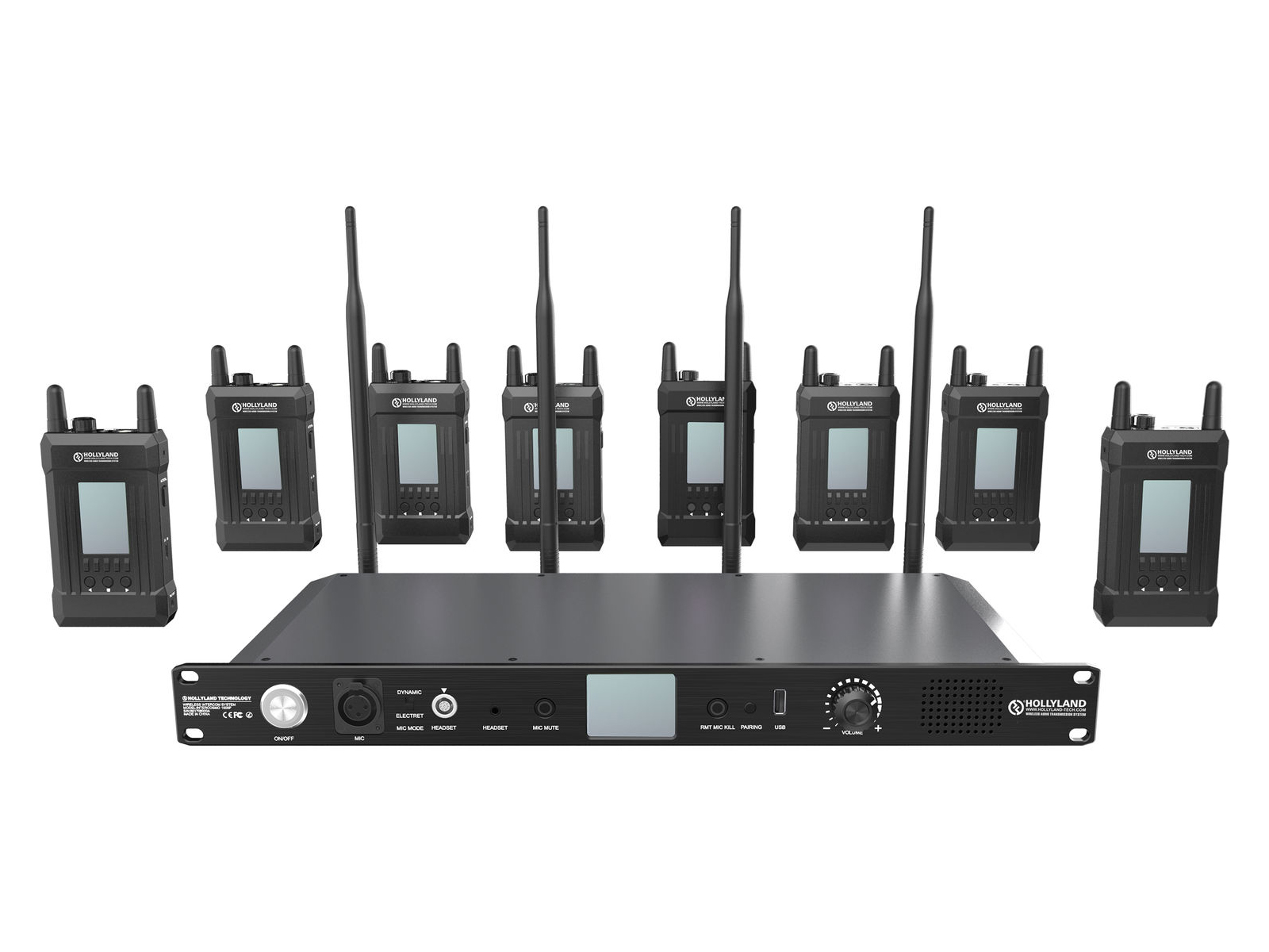 HL-Syscom-1000T-8B Full Duplex Intercom System with 8 Beltpacks - 1000ft by Hollyland
