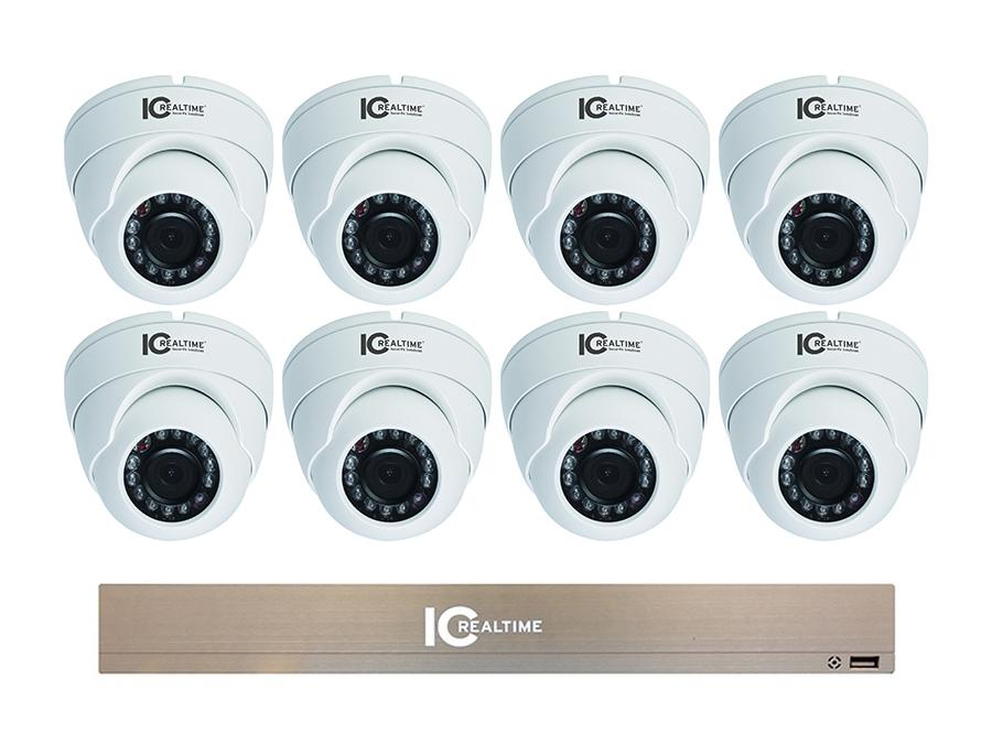 NVR-1TB-8-D4005 8CH 1080P Mini NVR with 8x 4MP IP Vandal Eyeball Dome 2.8mm Lens Cameras by ICRealtime