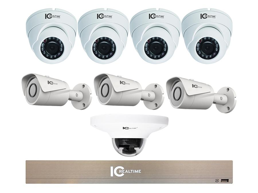 NVR-1TB-ICIP-4D3B-1L5 8CH 1080P Mini NVR with 3x 2MP IP Bullet/4x 2MP IP Eyeball Dome/1x 5MP Dome Cameras by ICRealtime