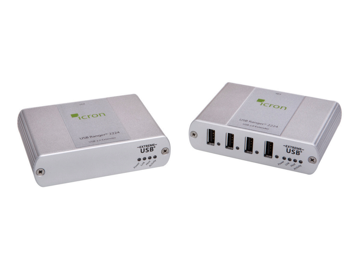 2244 USB 2.0 Ranger Legacy 4-Port Single-Mode Fiber Extender (Transmitter/Receiver) Kit up to 10km by Icron