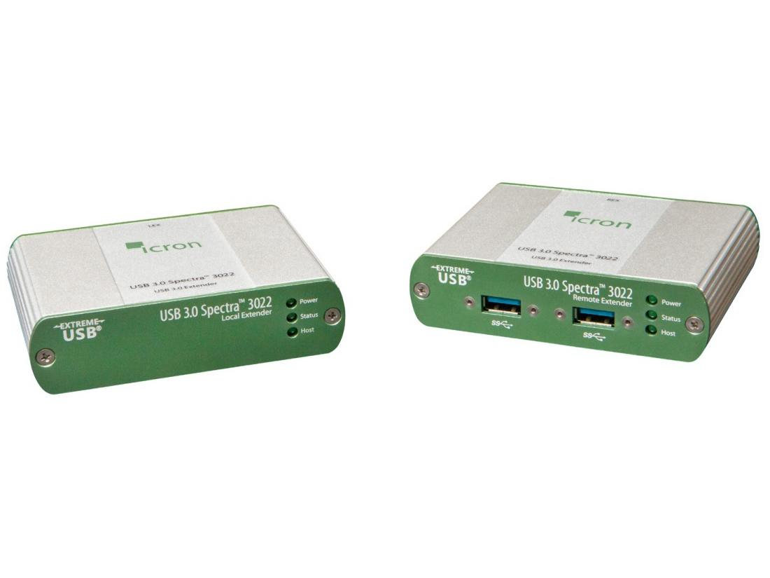 3022 USB 3.0 Spectra 2-Port Multimode Fiber Extender (Transmitter/Receiver) Set up to 100m by Icron