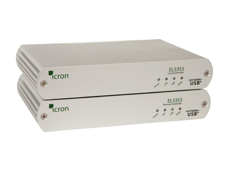 5353 KVM/DVI/USB 2.0 Extender (Transmitter/Receiver) Set over CAT5e/6/7 up to 100m/330ft by Icron