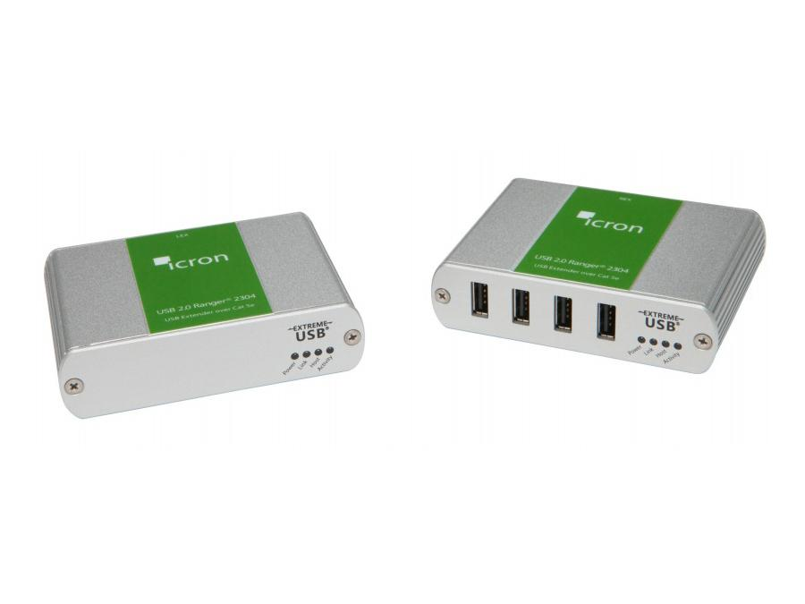 2304 4-Port USB 2.0 Extender (Transmitter/Receiver) System over CAT 5e/6/7 up to 100m by Icron