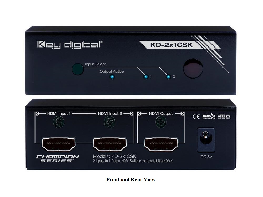 KD-2x1CSK 2x1 HDMI Switcher with Ultra HD/4K Supports by Key Digital