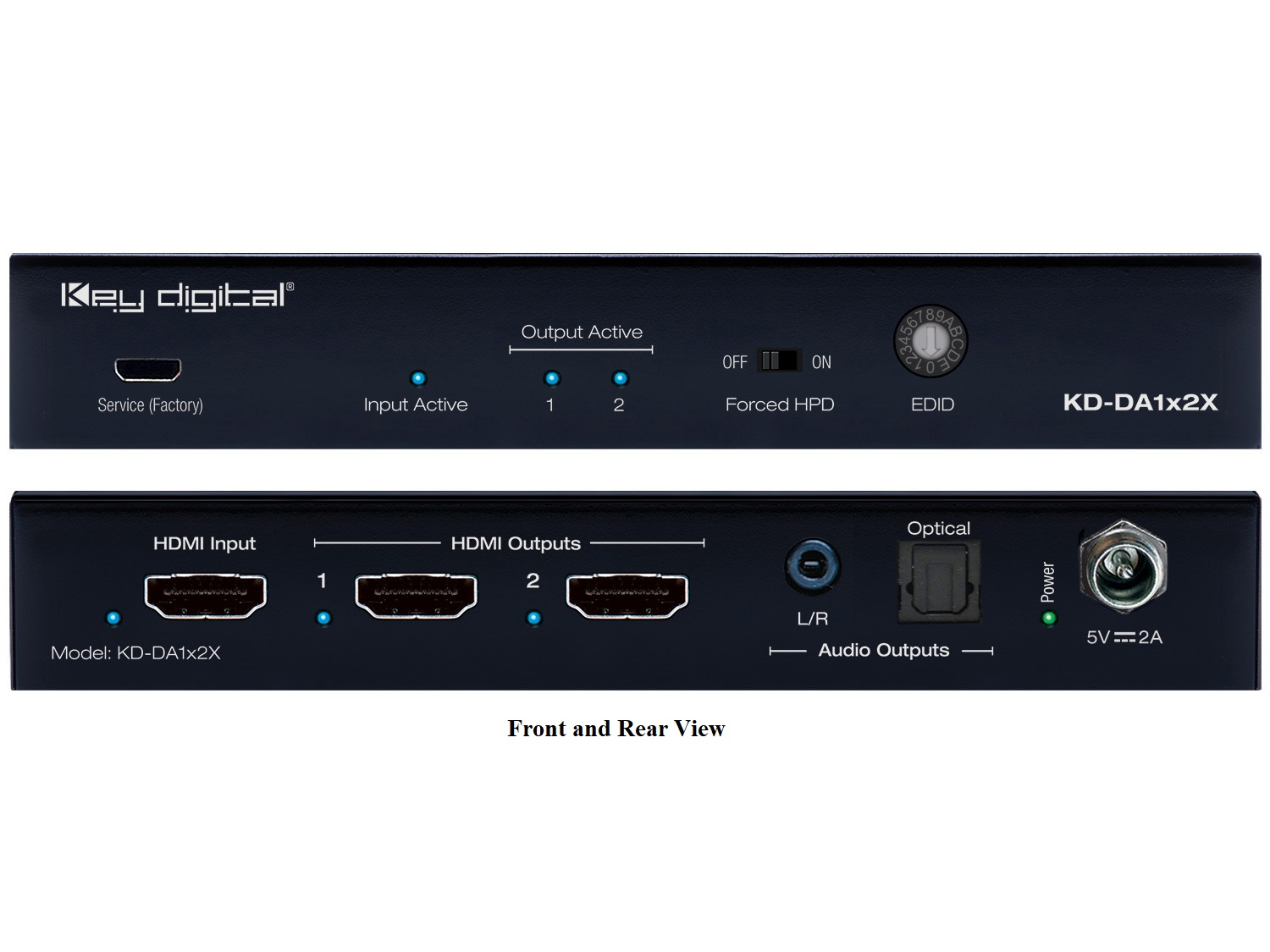 KD-DA1x2X 1x2 (4K/60Hz/18G/444) HDMI Distribution Amplifier with L/R Optical Audio and De-Embedded Audio Output by Key Digital