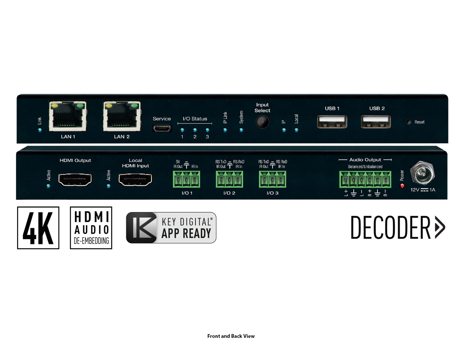 KD-IP1022DEC 4K UHD AV over IP Decoder with Independent Video/Audio/KVM/USB Routing and Video Wall Processing by Key Digital