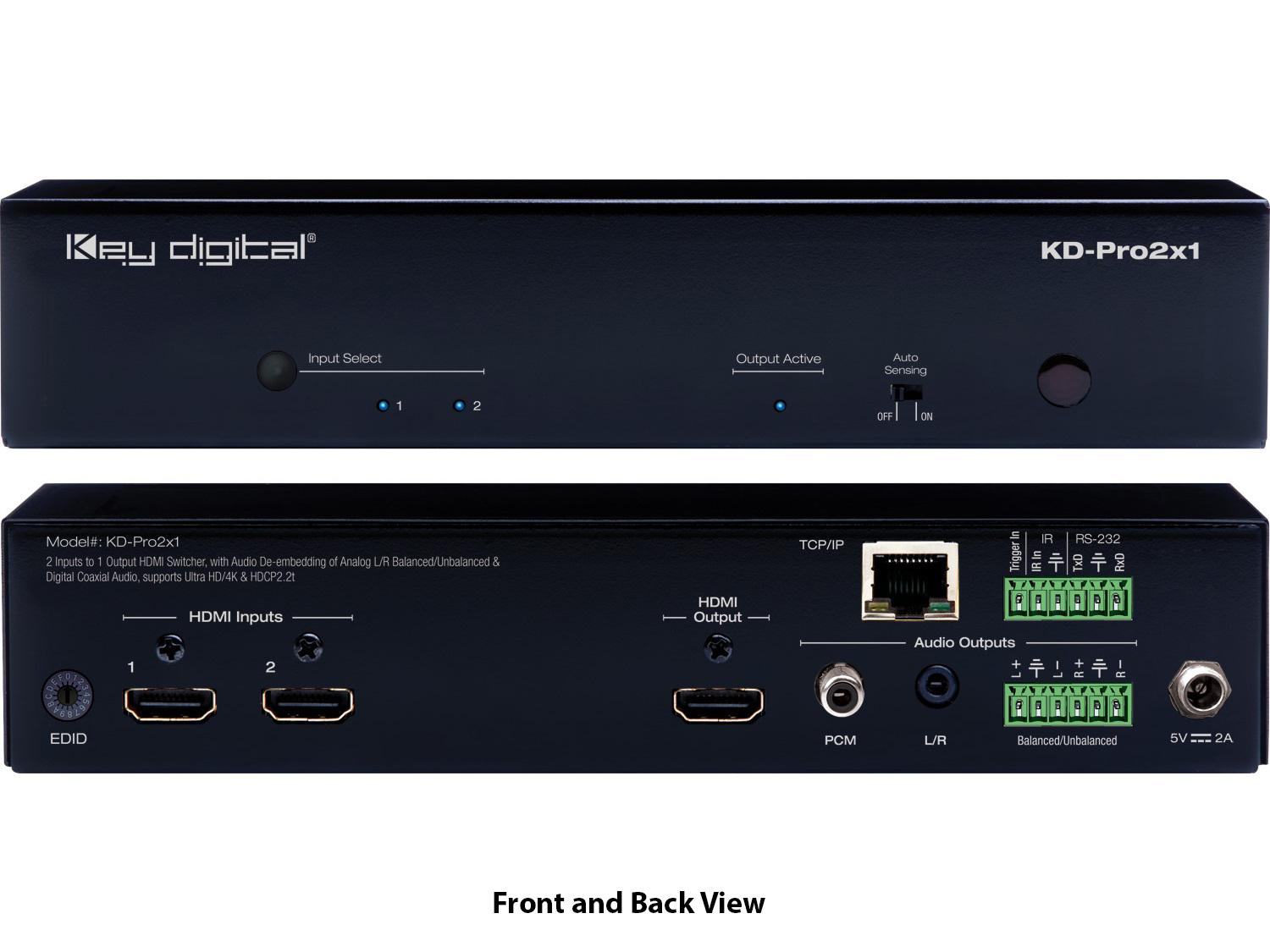 KD-Pro2X1 2x1 HDMI Selector with Remote/De-embedding Analog Audio/HDCP2.2/4K by Key Digital