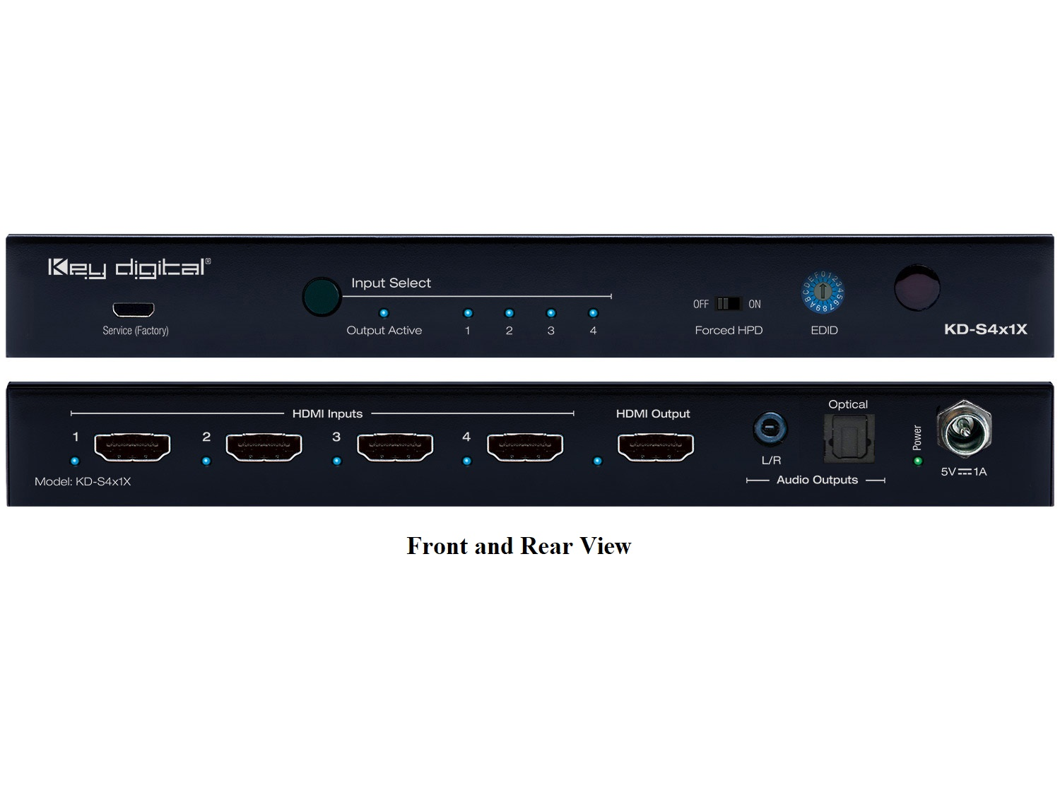 KD-S4x1X 4x1 (4K/60Hz/18G/444) HDMI Switcher with L/R Optical Audio and De-Embedded Audio Output by Key Digital