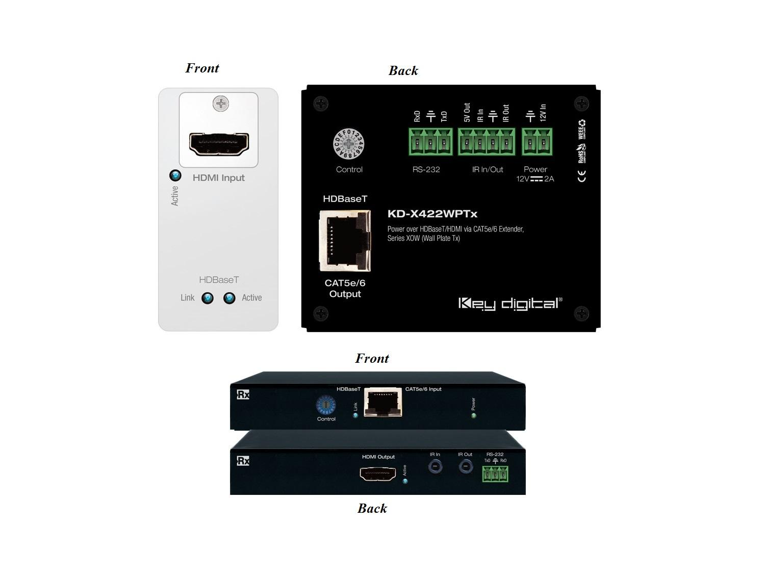 KD-X422WP Power over HDMI via Single CAT5e/6 (Wall Plate Transmitter/Receiver Set) Extender HDR10/HDCP2.2/4K by Key Digital