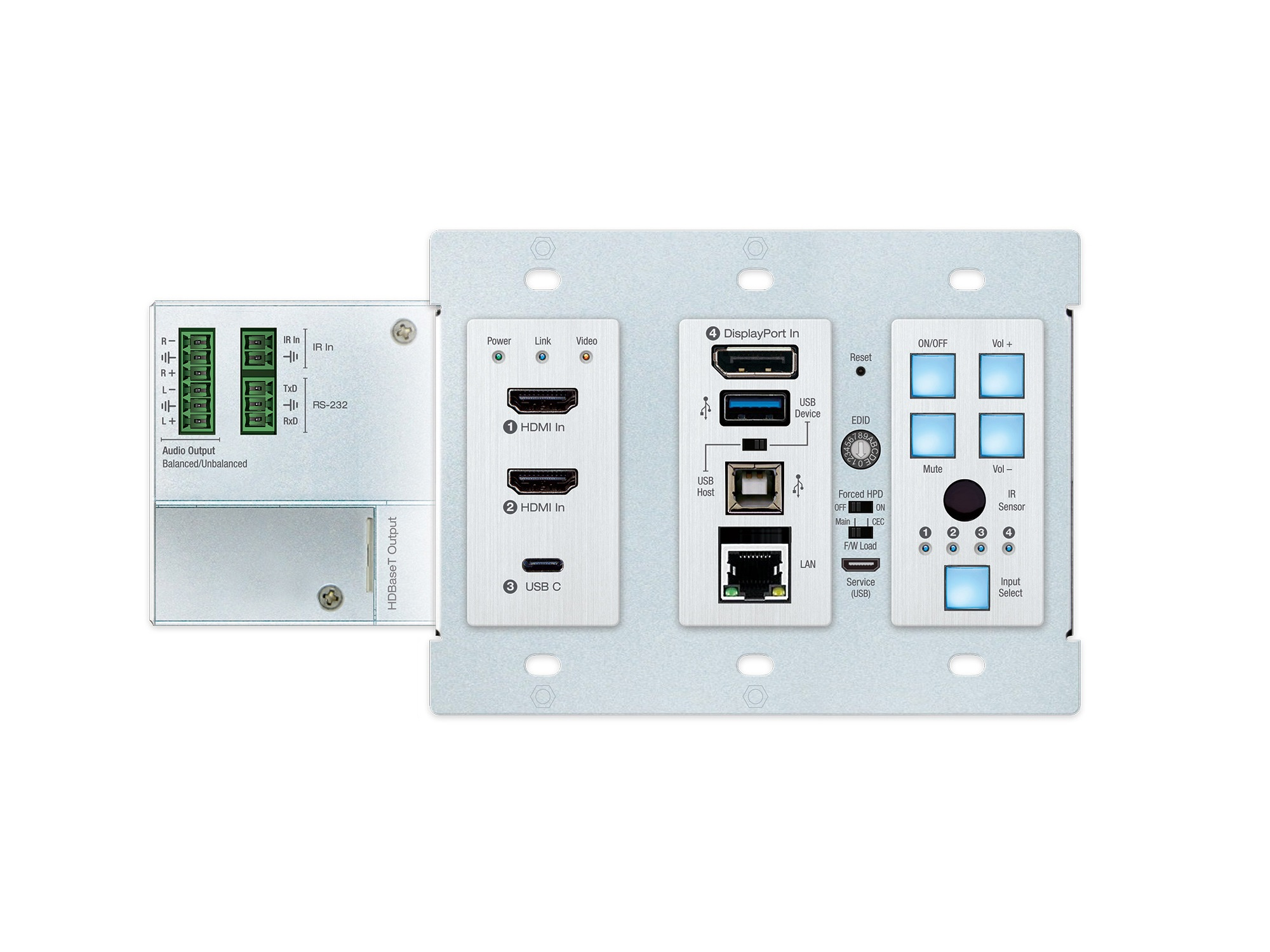 KD-X4x1WUTx 4x1 4K/18G 2xHDMI/DP/USB-C HDBT Wall Plate Switcher/Transmitter with CEC/ARC/Audio/IR/RS-232/PoH by Key Digital