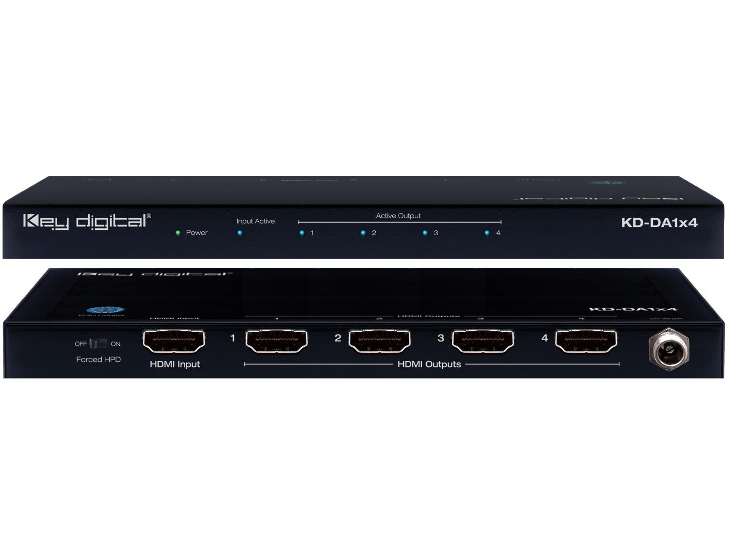 KD-DA1x4-b 1x4 HDMI Distribution Amplifier w HDCP 2.2/ Ultra HD/4K by Key Digital