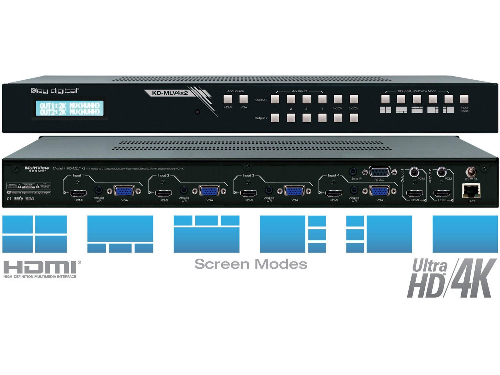 KD-MLV4x2 4x2 I/O Ultra HD/4K MultiViewer Seamless Matrix Switcher by Key Digital