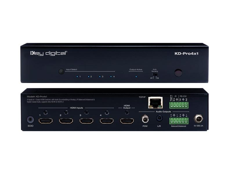 KD-Pro4x1 4 port HDMI Switch with Audio Outputs and Remote/De-embedding Analog/Digital Coax Audio by Key Digital