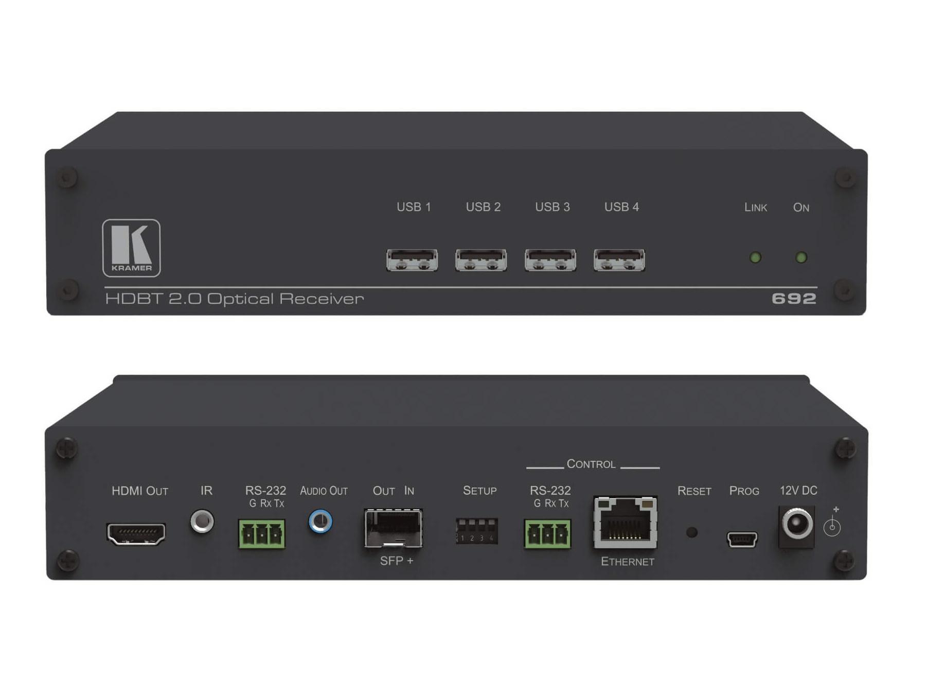 692 4K60 4x2x0 HDMI MM/SM Fiber Optic Extender (Receiver) with USB/Ethernet/RS-232/IR/Stereo Audio by Kramer