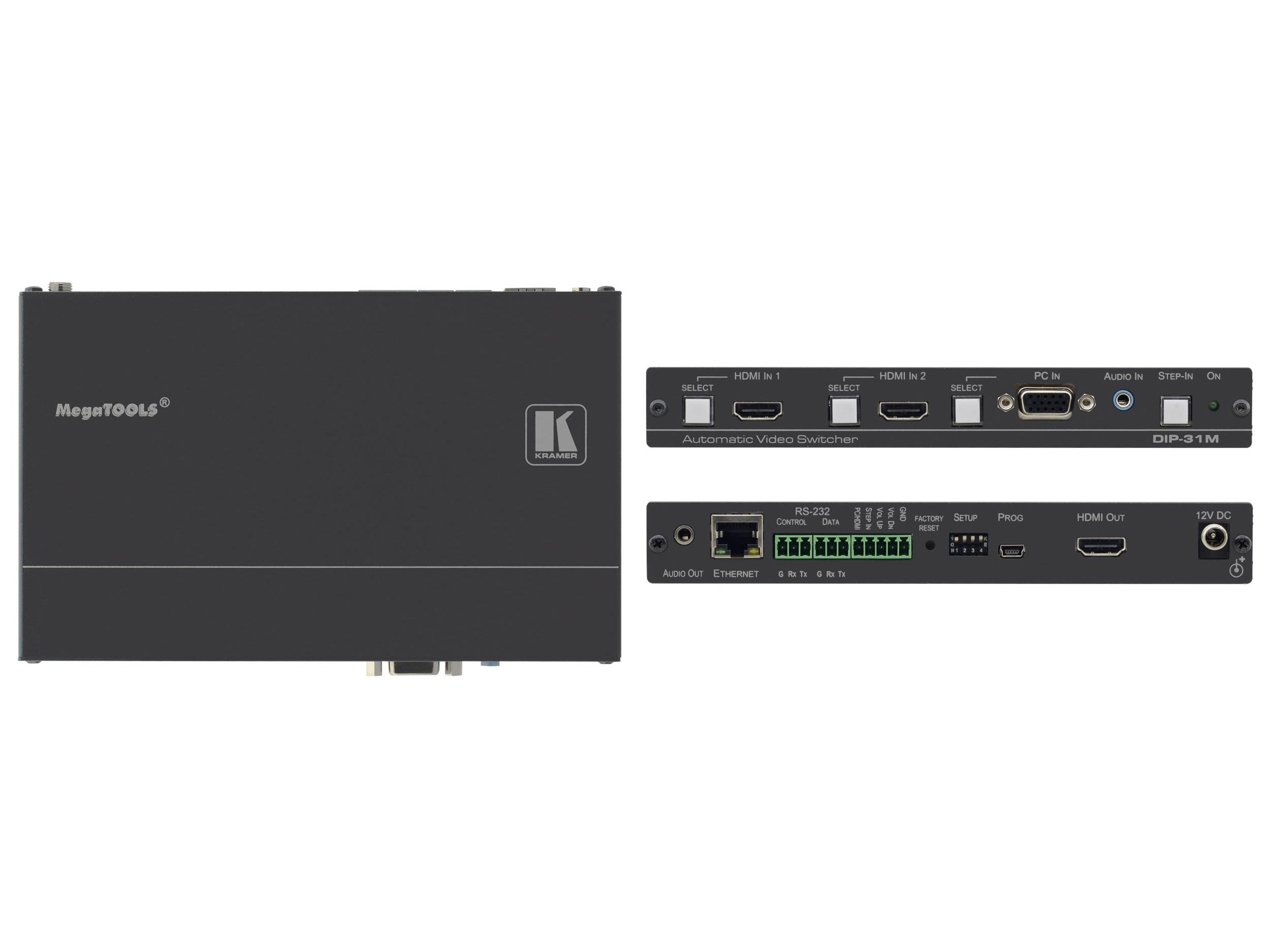 DIP-31M 4K/60 4x2x0 HDMI/Computer Graphics Automatic Video Switcher with Maestro Room Automation by Kramer