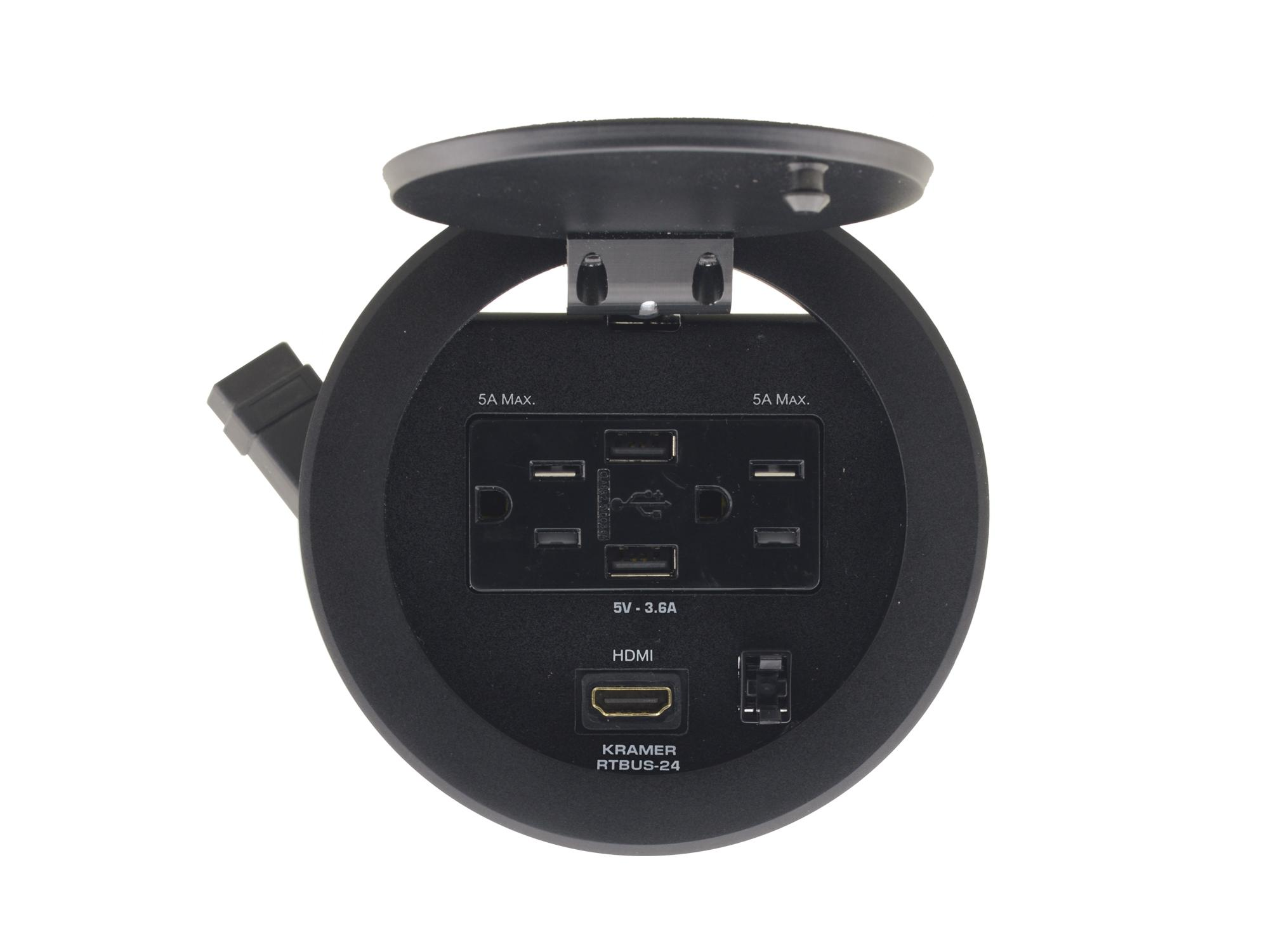 RTBUS-24(B) Round Table Connection Bus with 2 US Power Sockets/2 USB Chargers and 1 HDMI Connector by Kramer
