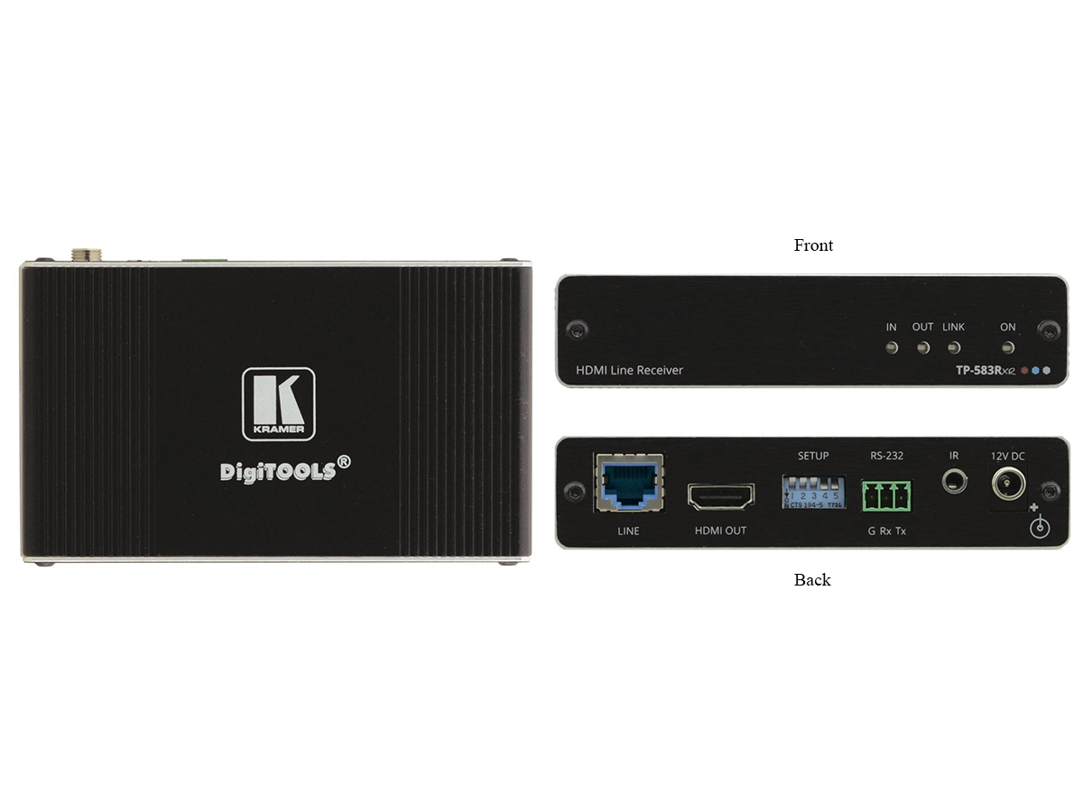 TP-583Rxr 4K HDR HDMI Extender (Receiver) with RS-232/IR over Extended-Reach HDBaseT by Kramer