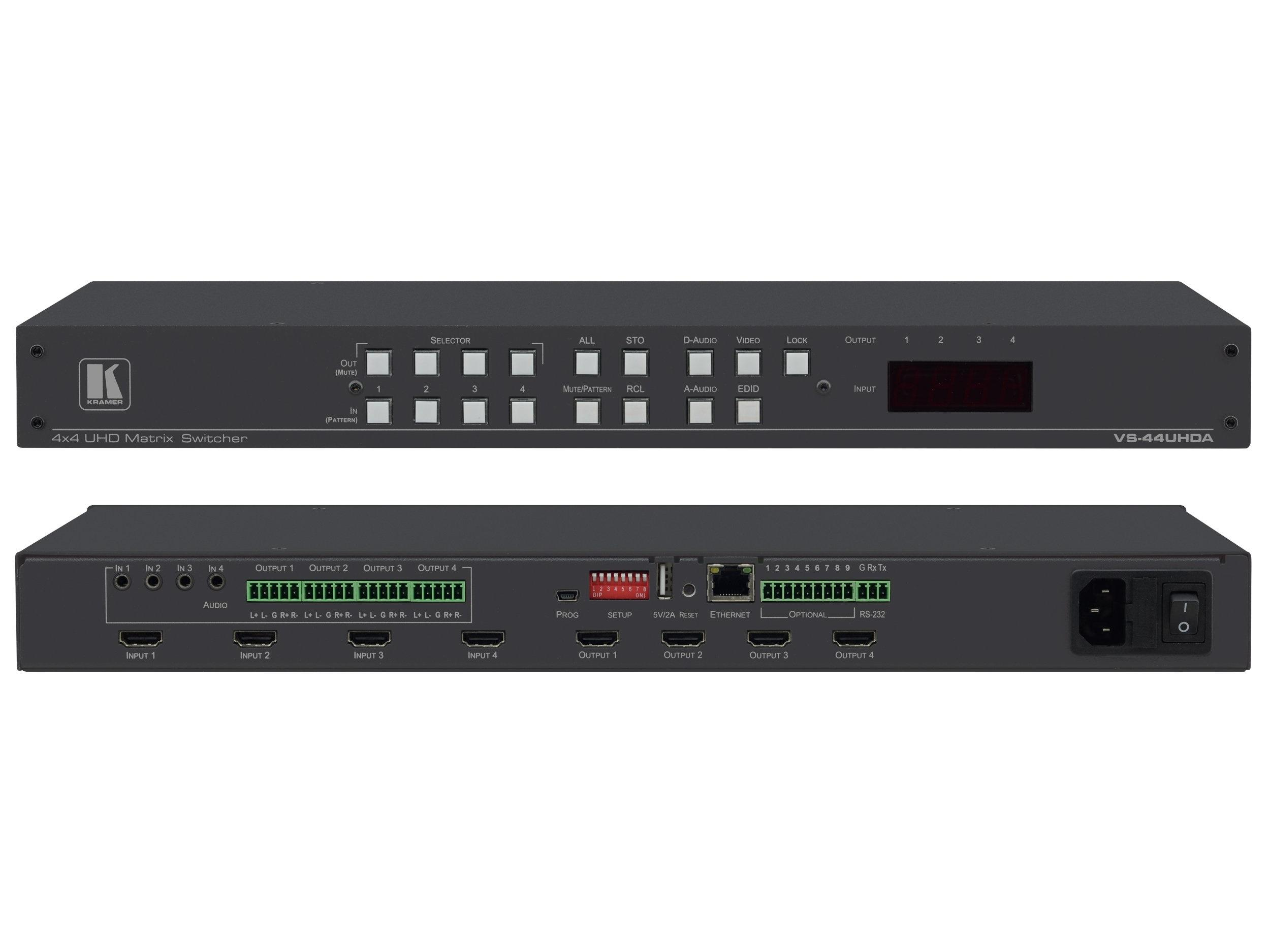 VS-44UHDA 4x4 4K60 4x2x0 HDMI Matrix Switcher with Audio Embedding/De-Embedding by Kramer