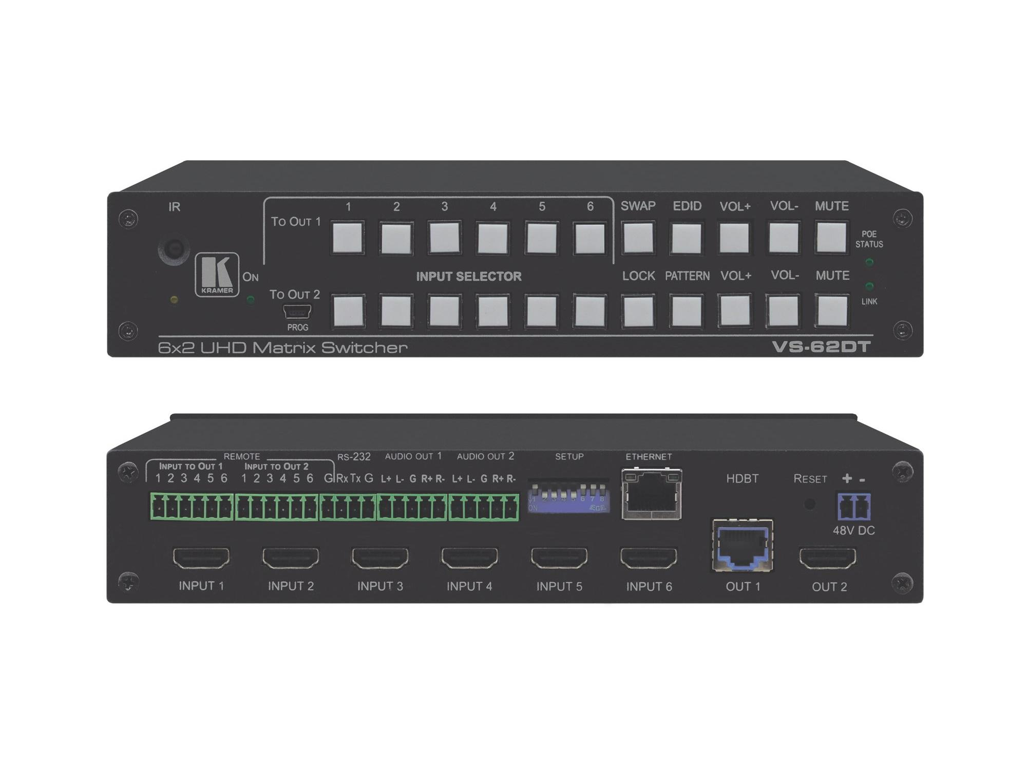 VS-62DT 6x2 4K/60 4x2x0 HDMI/HDBaseT Long-Reach PoE Matrix Switcher by Kramer
