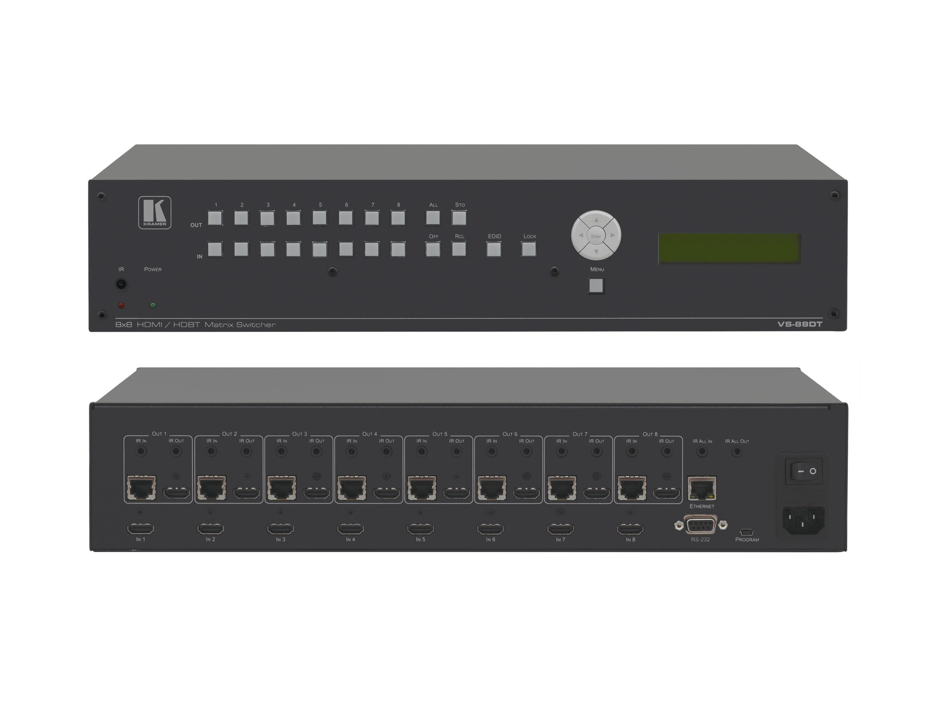 VS-88DT 8x8 HDMI to HDMI or HDBaseT Matrix Switcher by Kramer