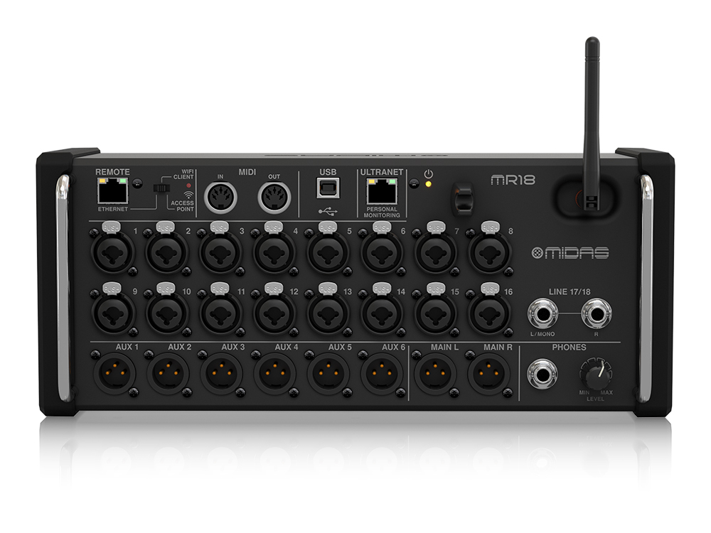 MR18 18-In Digital Mixer for iPad/Android Tablets with 16 Midas PRO Preamps/Wifi Module/Multi-Channel USB Audio by Midas