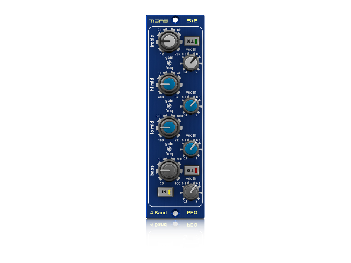PARAMETRICEQUALIS512 500 Series Modular 4 Band Fully Parametric Equaliser Based on Midas HERITAGE 3000 by Midas