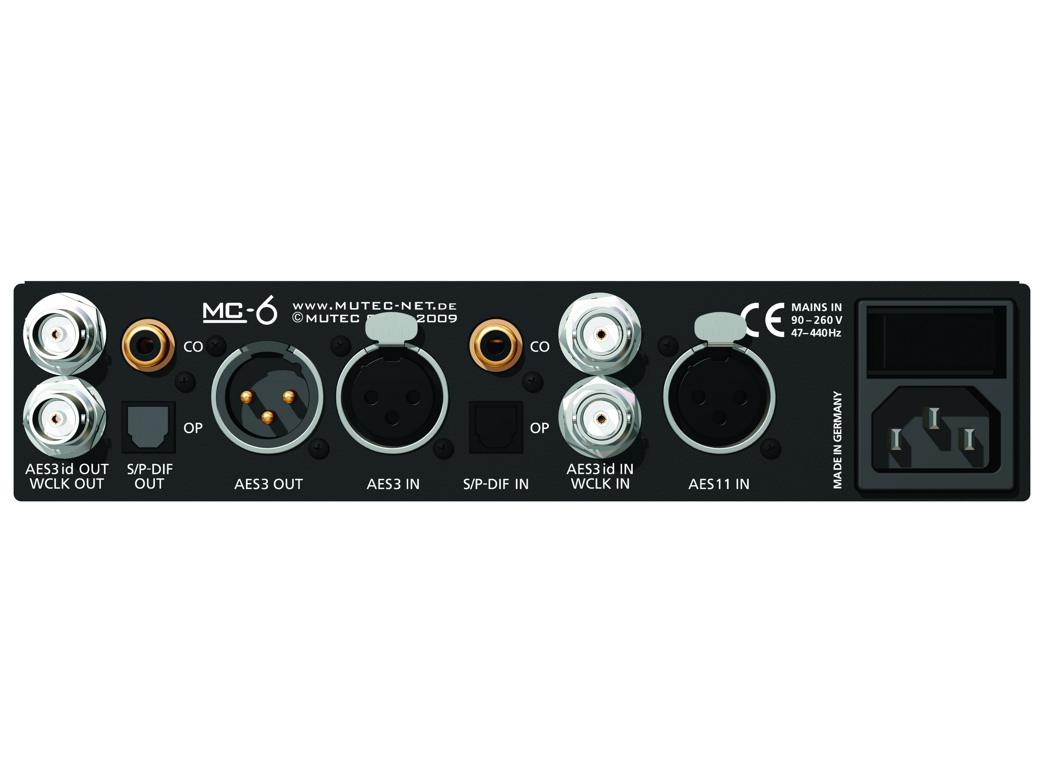MC-6 Digital Audio format/sampling rate converter (AES3/AES3id/ S/P-DIF) by Mutec