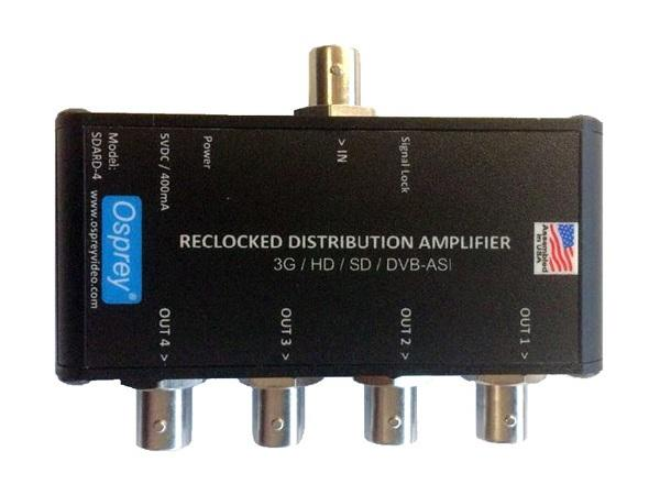 97-11024 1x4 Equalized/Reclocking 3G/HD/SD-SDI SDARD-4 Distribution Amplifier with DVB-ASI by Osprey