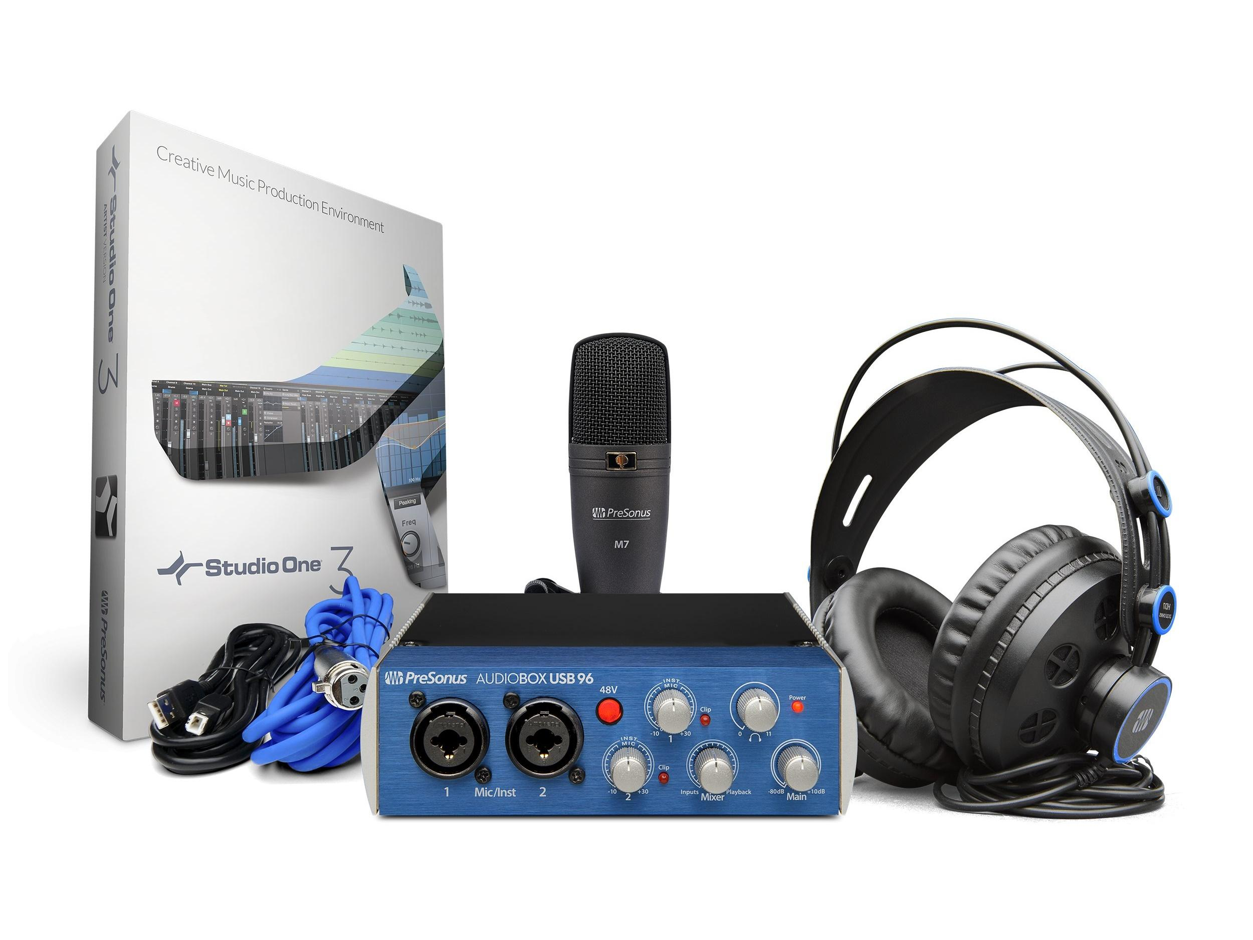 AudioBox 96 Studio 2x2 USB 2.0 Recording System/96kHz Audio Interface w HD7 Headphones/M7 Mic/Studio One Artist by PreSonus