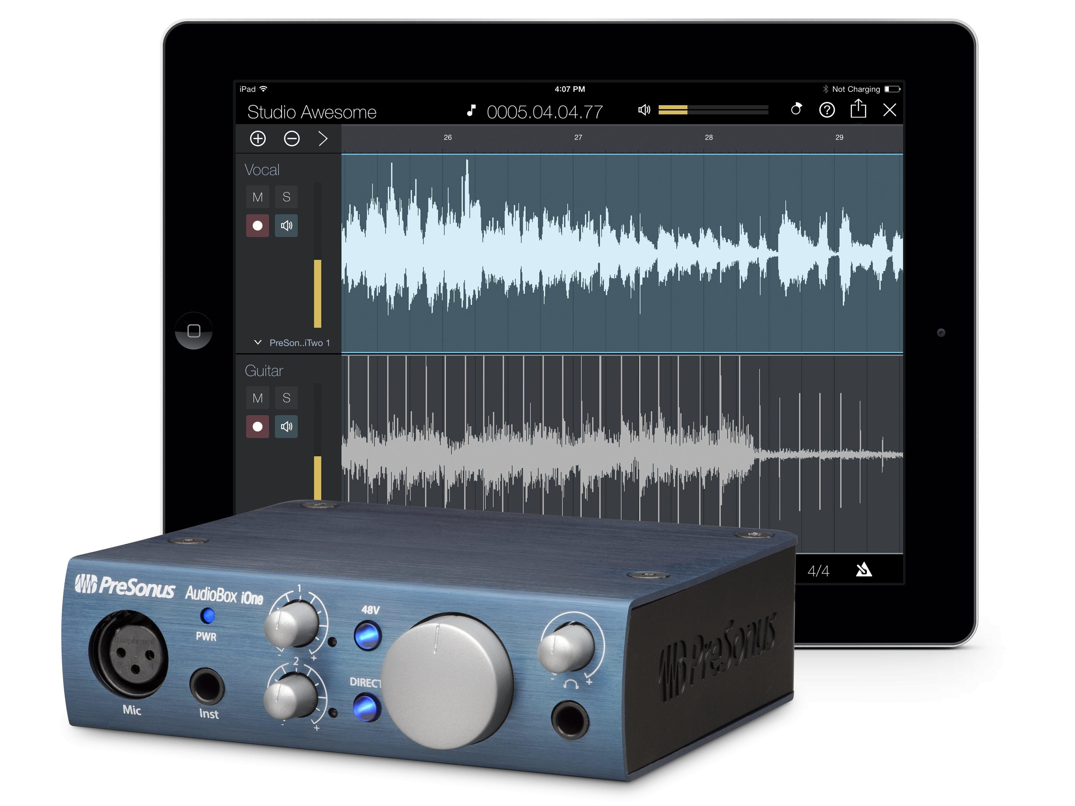 AudioBox iOne 2x2 USB 2.0 Recording System/iPad Audio Interface w 1 Mic Input by PreSonus