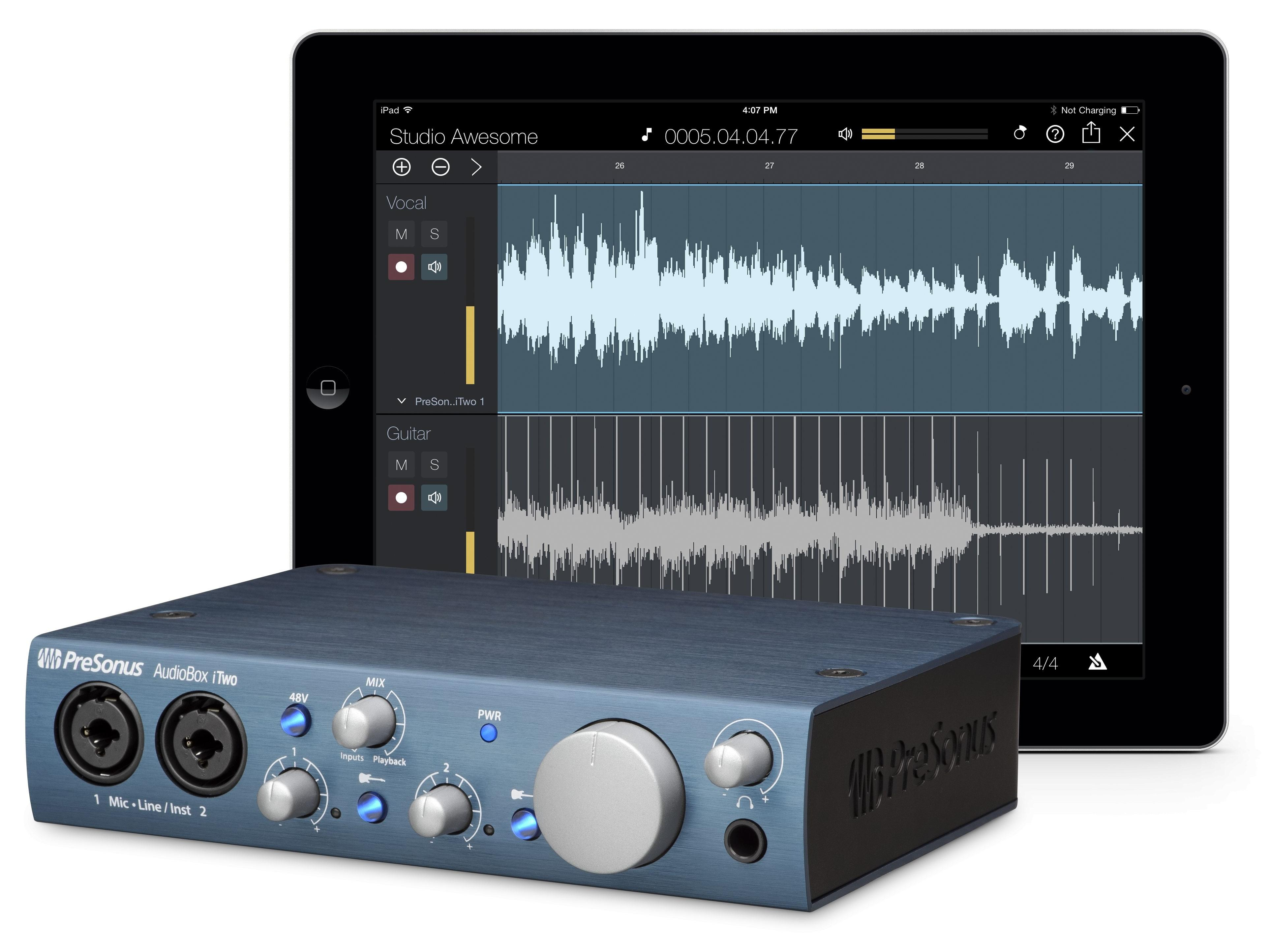 AudioBox iTwo 2x2 USB 2.0 Recording System/iPad Audio Interface w 2 Mic Inputs and MIDI by PreSonus