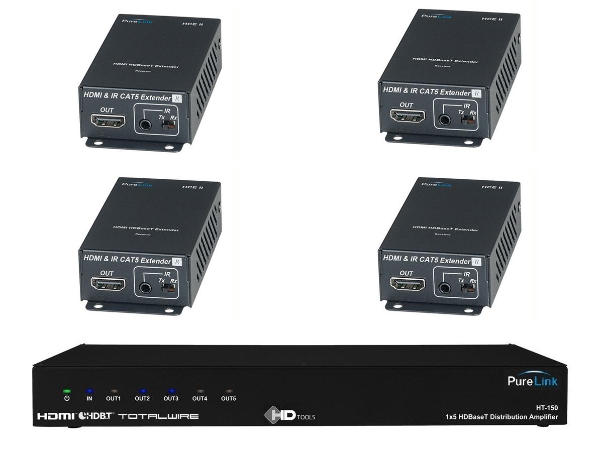HT-150-KIT1-4 HDMI to HDBaseT Ampflier w 4x HDMI/Fiber Extender (Rx) by PureLink