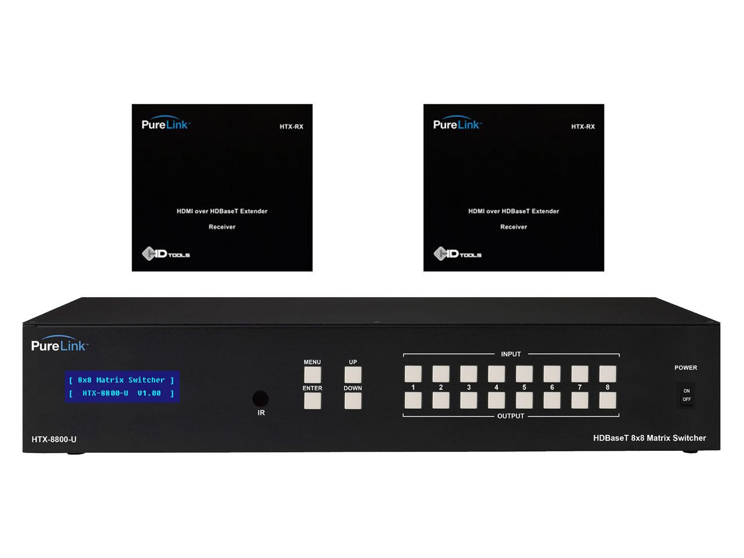 HTX-8800-U-KIT2 HTX-8800-U HDMI Switcher w (2) HTX Extender (Rx) Kit by PureLink