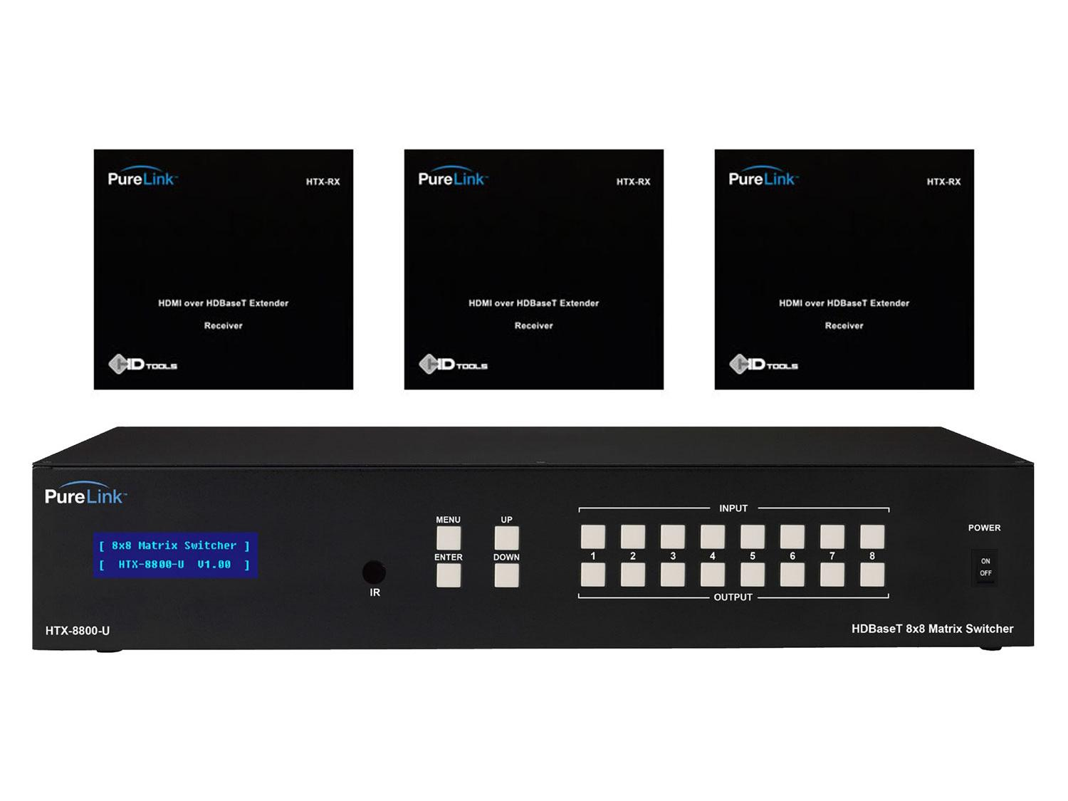 HTX-8800-U-KIT3 HTX-8800-U HDMI Switcher w (3) HTX Extender (Rx) Kit by PureLink