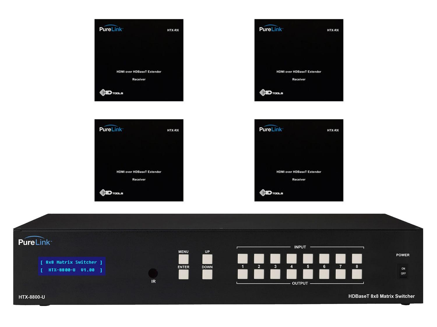 HTX-8800-U-KIT4 HTX-8800-U HDMI Switcher w (4) HTX Extender (Rx) Kit by PureLink
