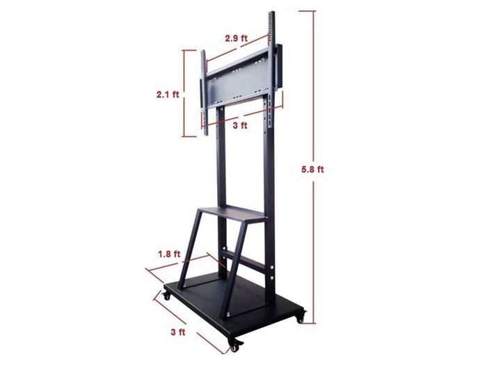 QIT-Stand Touchscreen Mobile Stand with Middle Shelf and Mount by QOMO