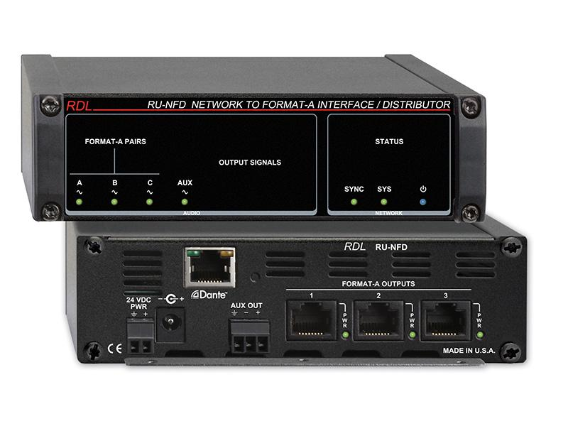 RU-NFD 3x1 Network to Format A Interface/Distributor/Dante/Line Aux by RDL