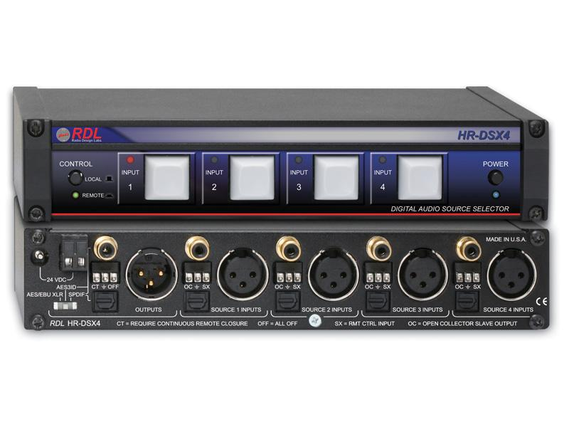 HR-DSX4 AES/EBU and S/PDIF Digital Audio Selector by RDL