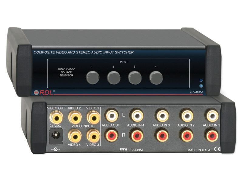 EZ-AVX4 4X1 Composite Video and Stereo Audio Input Switcher by RDL