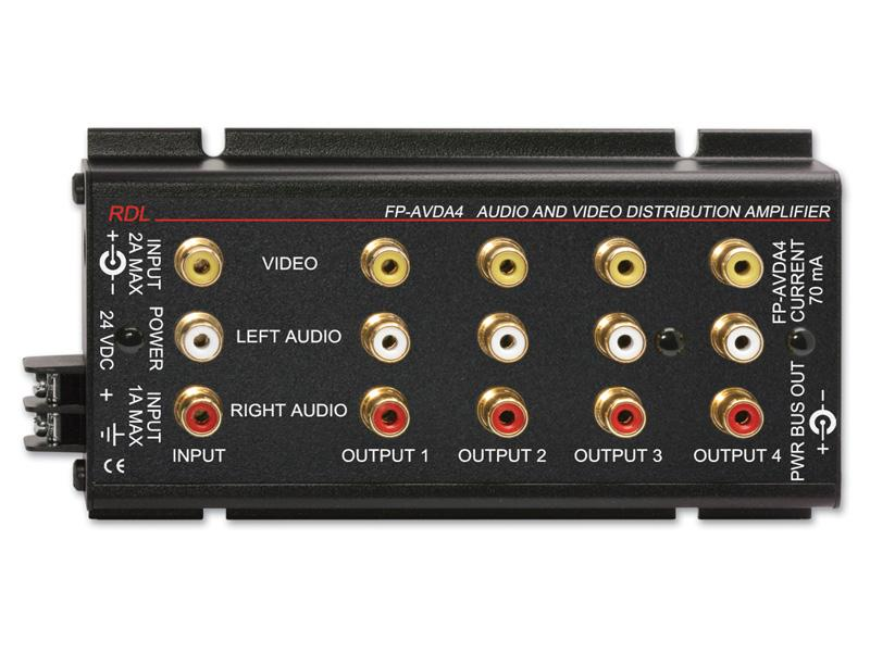 FP-AVDA4 1x4 Stereo Audio/Video Distributor/Phono Jacks by RDL
