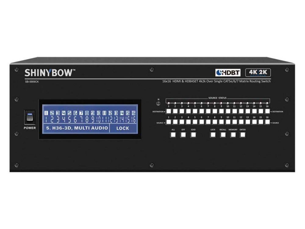 SB-5669CK 16x16 HDMI/HDBaseT 4K2K Matrix Routing Switch w Full EDID by Shinybow