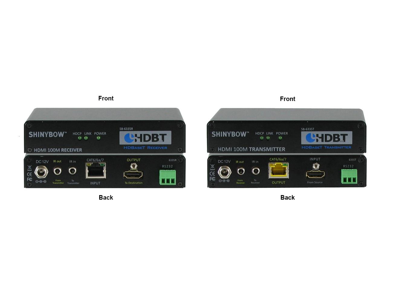 SB-6335x (KIT) HDMI HDBaseT Tx/Rx Kit up to 330ft (2-Way IR/RS-232/HDMI) by Shinybow