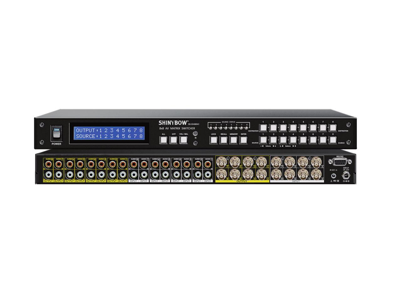 SB-5548BNC 8x8 Composite Video Matrix Switcher w Stereo Audio (BNC) by Shinybow