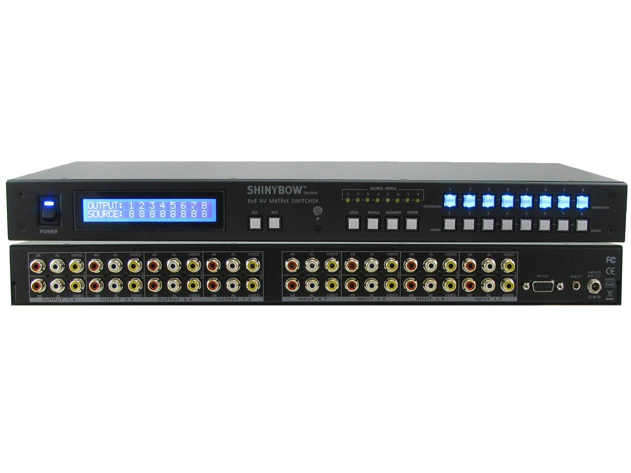 SB-5548LCM 8X8 Composite Video Matrix Switcher w Stereo Audio by Shinybow