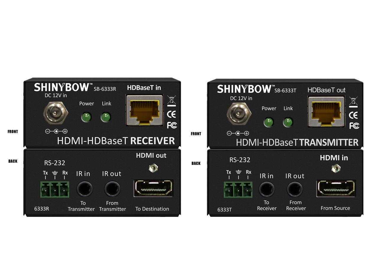 SB-6333x (KIT) HDMI HDBaseT Extender (Transmitter/Receiver) KIT 230 ft 2-way IR/RS-232 by Shinybow